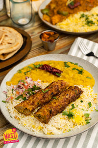 DAL TARKA AND SHEEK KABAB WITH BASMATI RICE