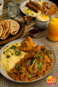 CHICKEN CURRY AND VEGETABLE SAMOSA WITH BASMATI RICE