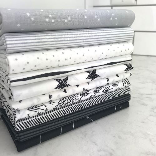Black and White Fat Quarter bundle, Monochromatic
