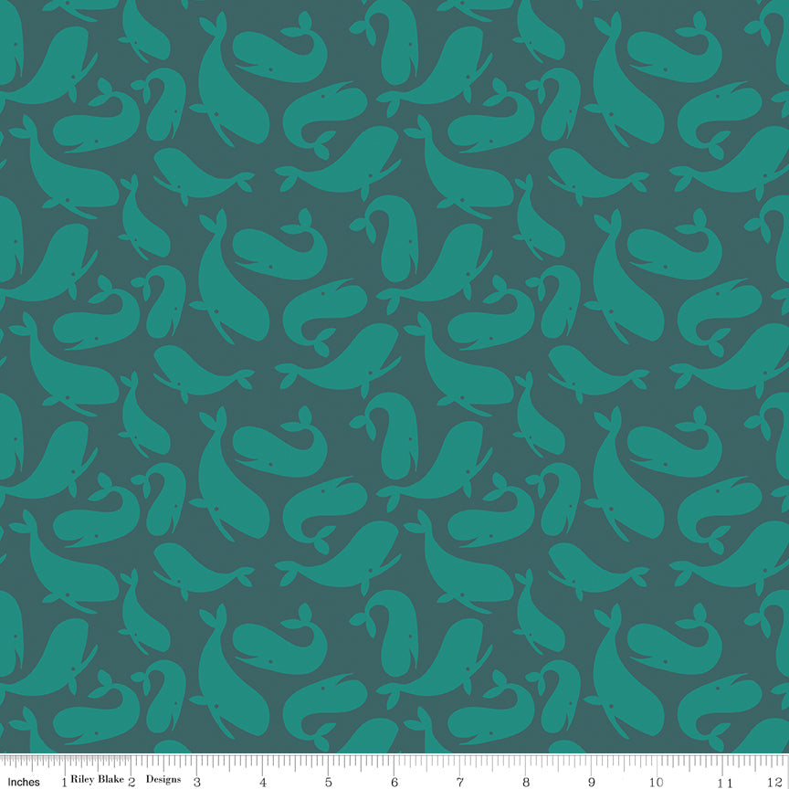 Tossed whales in teal; Whales Ocean from Ahoy! Mermaids