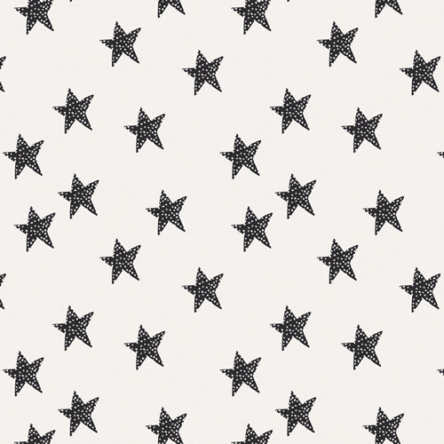 Star Glow, Pine Lullaby Rediscovered, Art Gallery Fabrics (OEKO-TEX), Modern Black and White Star Fabric