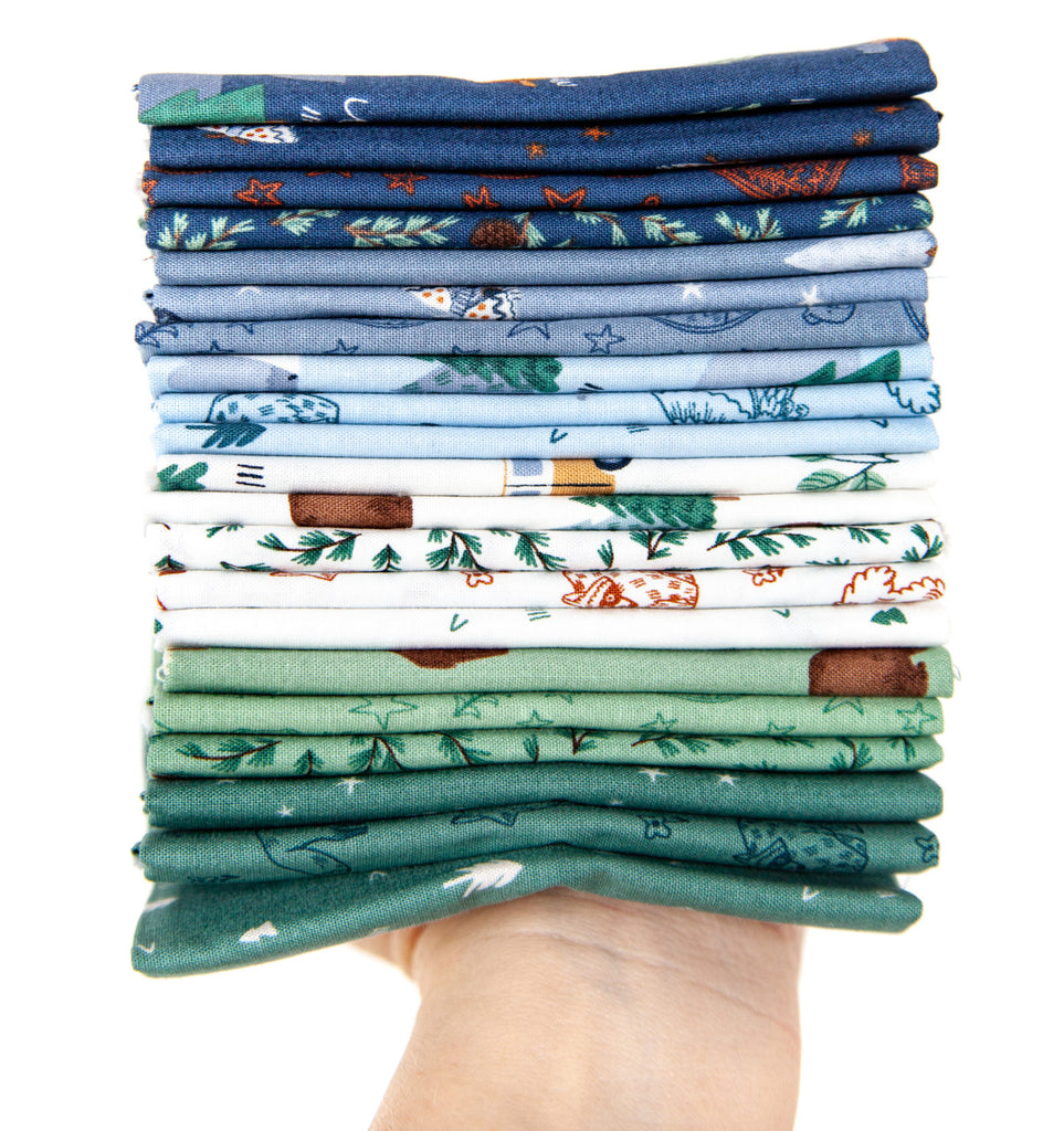 Blue, White, and Green Camp Woodland fabric stack
