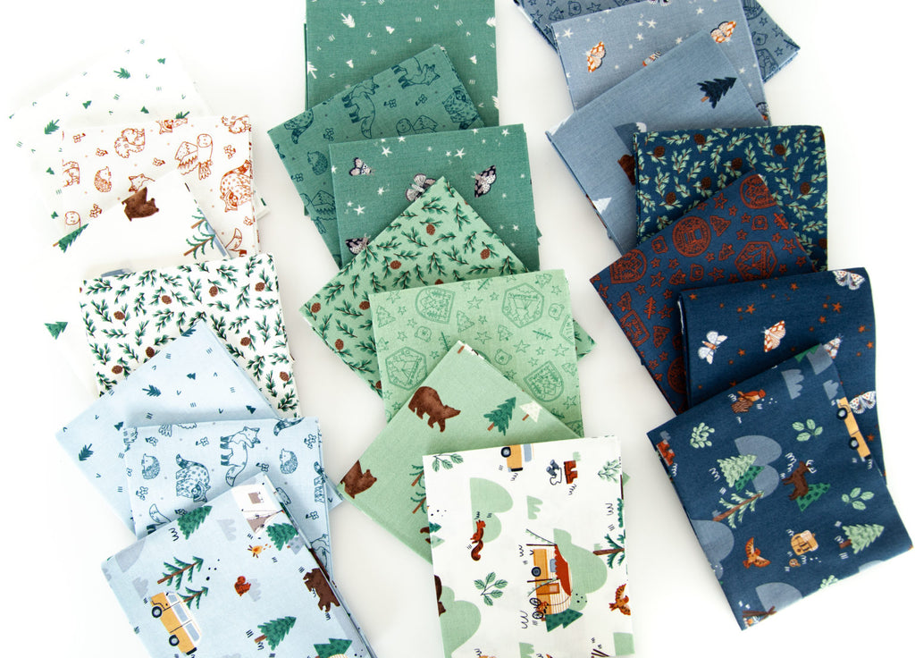 Camp themed fat quarters in white, green, and blue