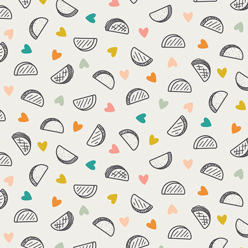 Tacos with colorful hearts on a white fabric