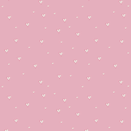 Pink fabric with small white hearts