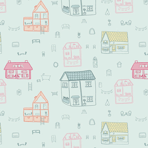 Aqua fabric with colorful dollhouses