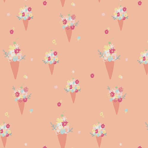 Peach fabric with floral ice cream cones