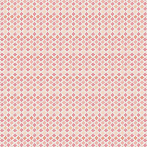 Diamond print fabric with peach and pink