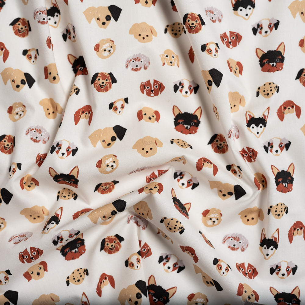 Doggie Dots in Cream, Birch Fabrics, Dog Park Collection, Organic