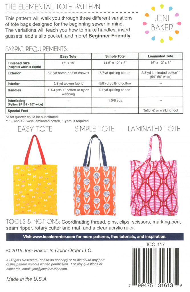 Elemental Tote fabric requirements
