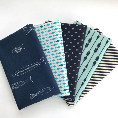 Navy and Aqua fabric bundle with fish and oars