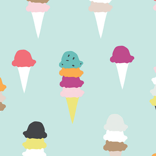 Ice Cream Fabric in Aqua