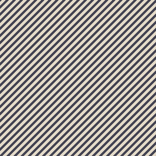 Petits Strokes Midnight, Les Petits, Amy Sinibaldi, Art Gallery Fabrics (OEKO-TEX), Navy Bias Stripe Fabric