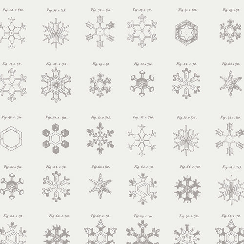 Snowflakes in gray fabric