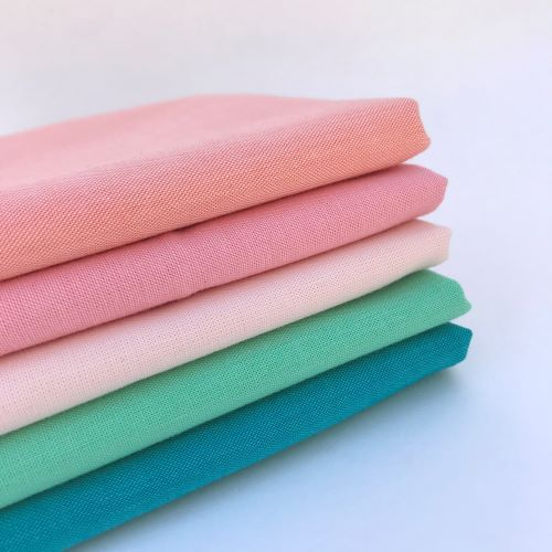 Coral, Bubblegum, Blush, Mint, and Turquoise Stack of Organic Fabric