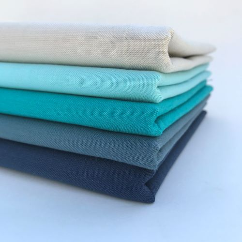Ombre Blue Organic Solid Fabric Bundle, Cirrus Solids, Cloud9
