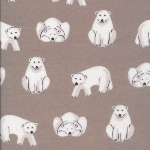Cloud 9 Fabrics, Northerly Flannel, Polar Bears in Gray (Organic)