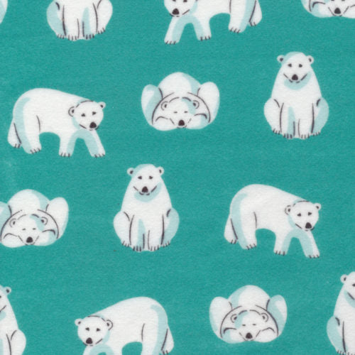 FLANNEL - Cloud 9 Fabrics, Northerly, Polar Bears in Teal (Organic)