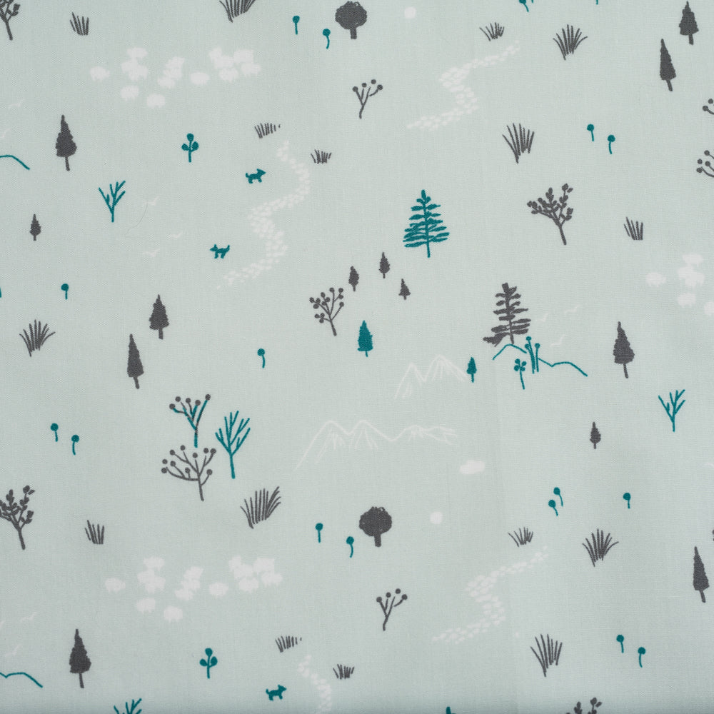 Forest in Mint, Dog Park, Birch Organic Fabric
