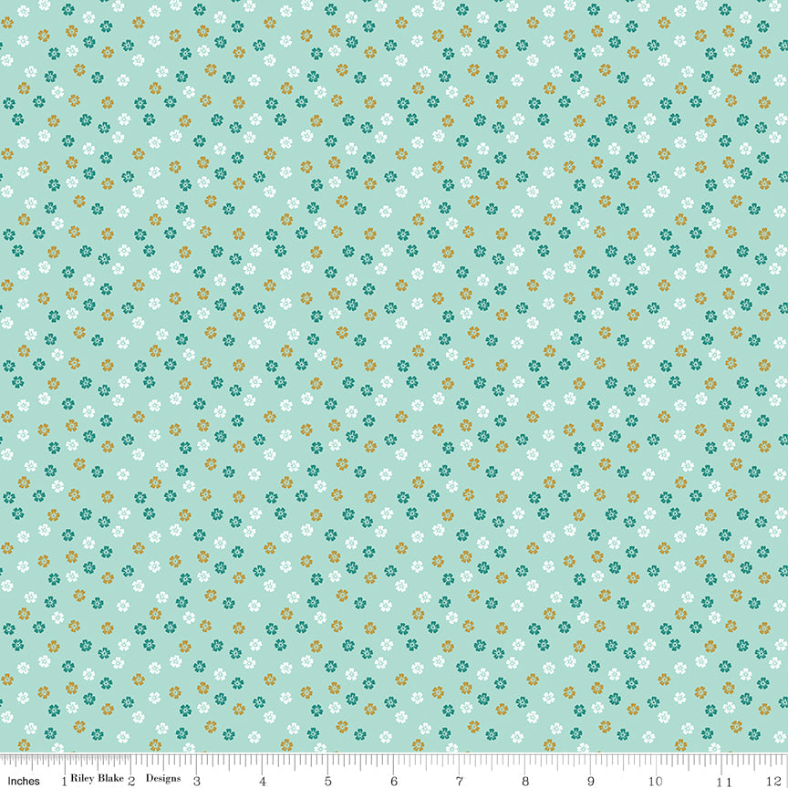 Small floral print with gold sparkle on a mint background from Ahoy! Mermaids