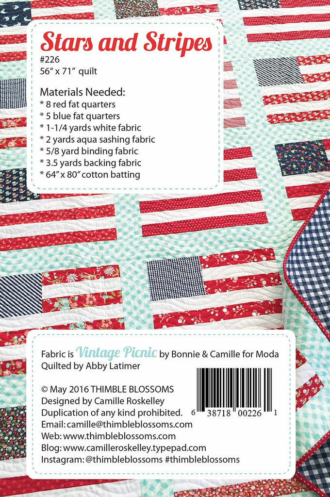 Fabric Requirements for Stars and Stripes quilt pattern