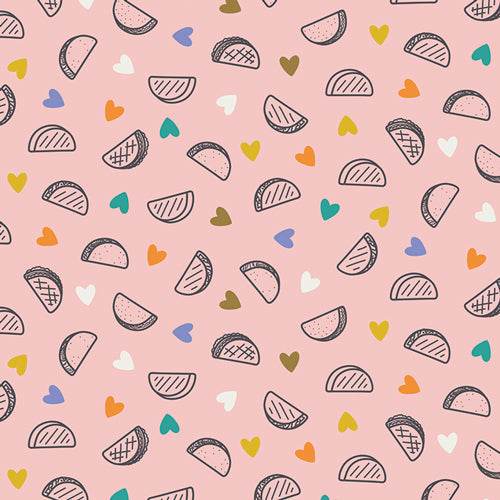 Pink fabric with tacos and hearts