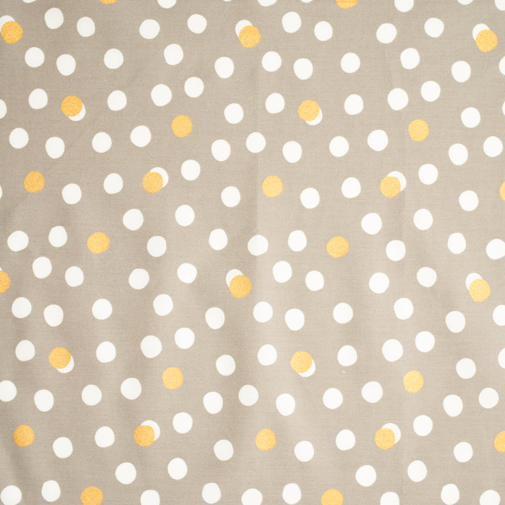 Gray with gold and cream dots