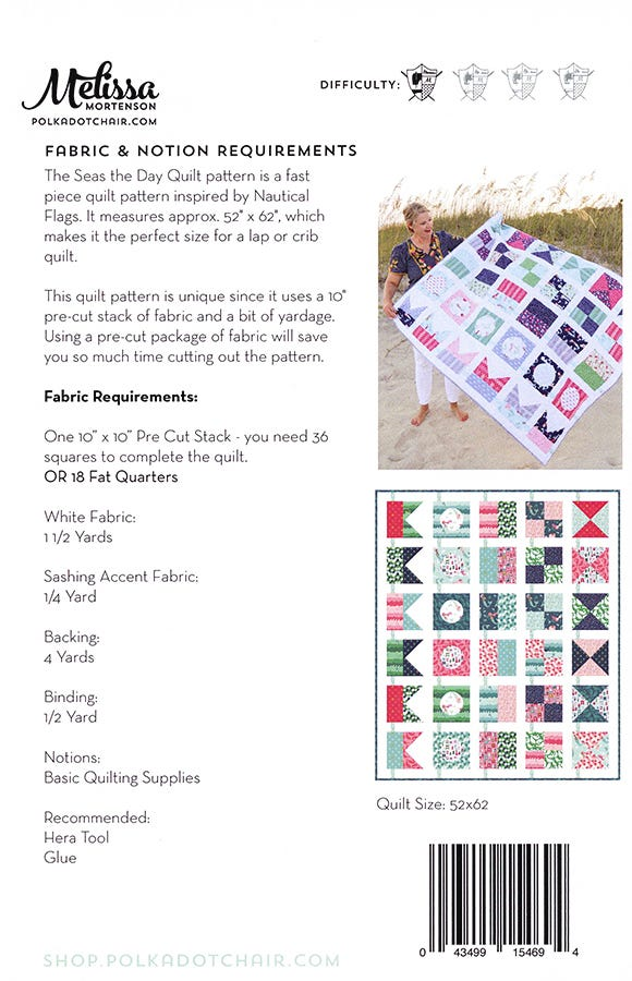 """Seas"" the Day quilt pattern fabric requirements"