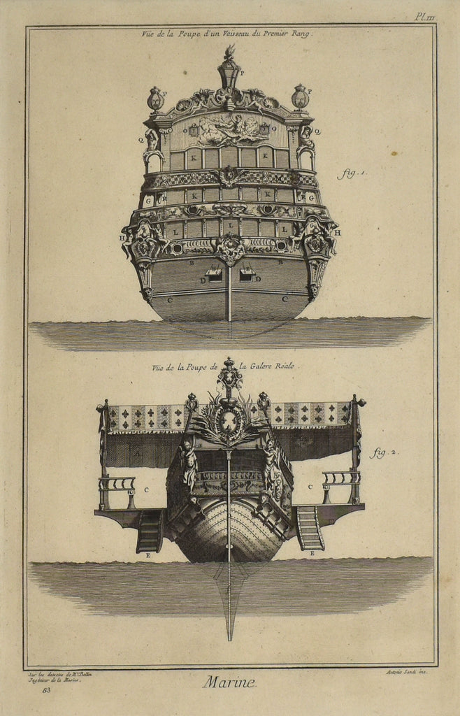 Poop Decks of First Rate Vessel and Royal Galley: Diderot (after Bellin) 1765