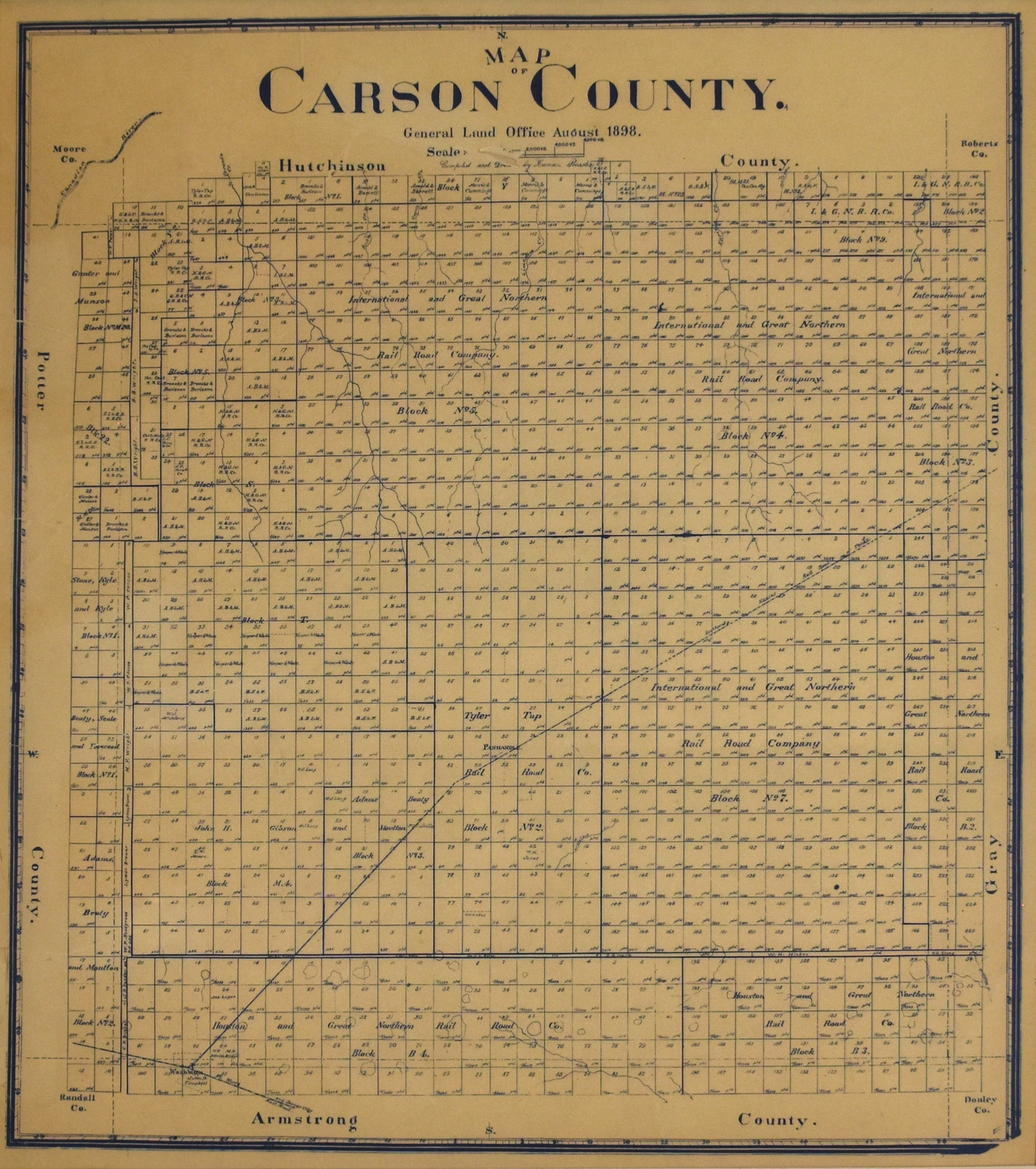 Carson County Texas: General Land Office (Herman Pressler) 1898