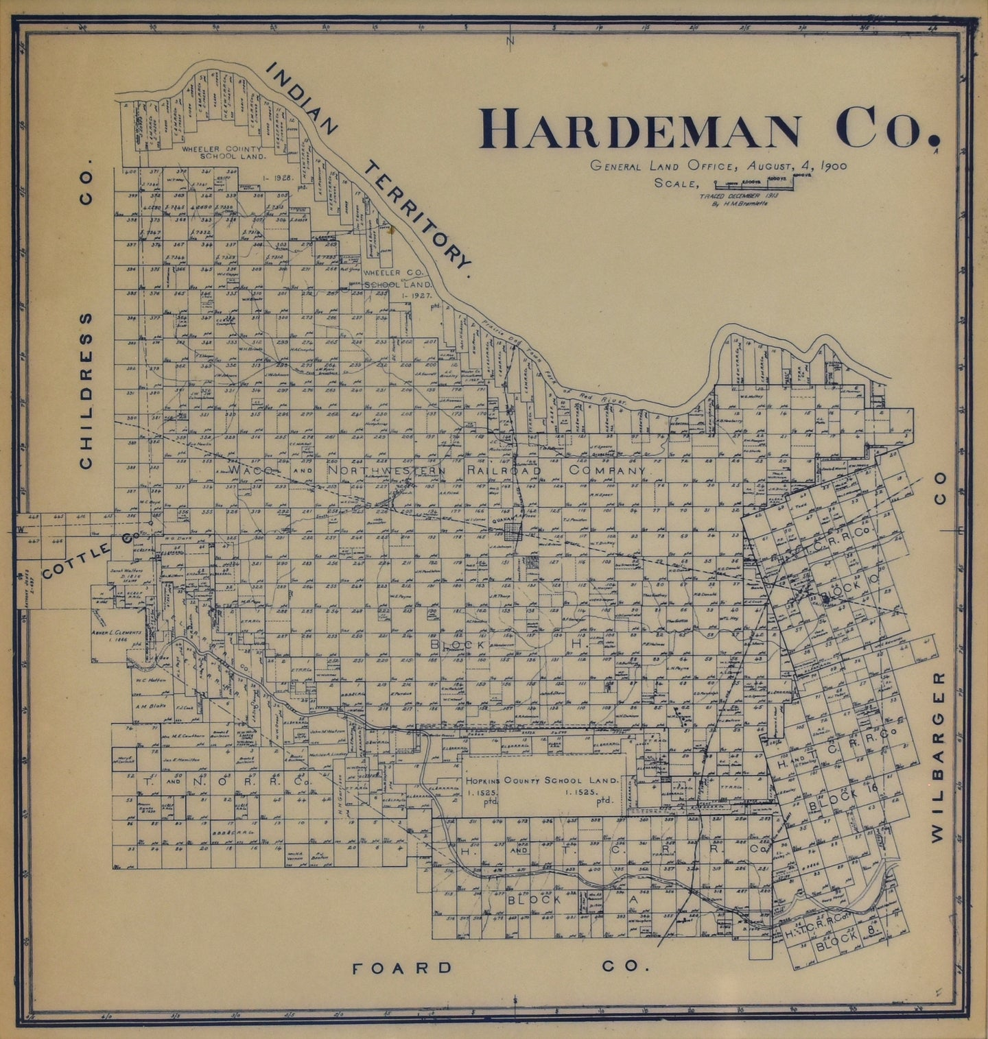 Hardeman County, Texas: General Land Office (H.M. Bramlette) 1913