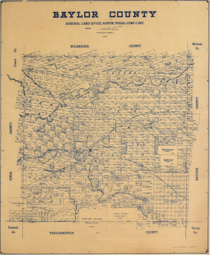 Old map of Baylor County, TX