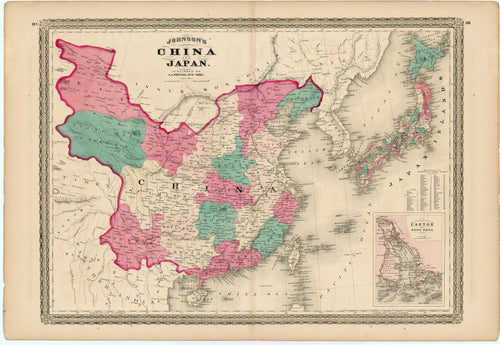 Old map of China and Japan