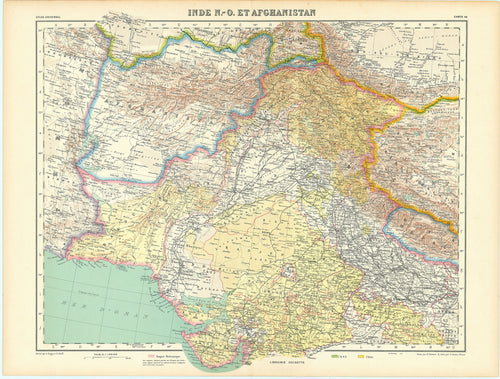 Old map of India and Afghanistan