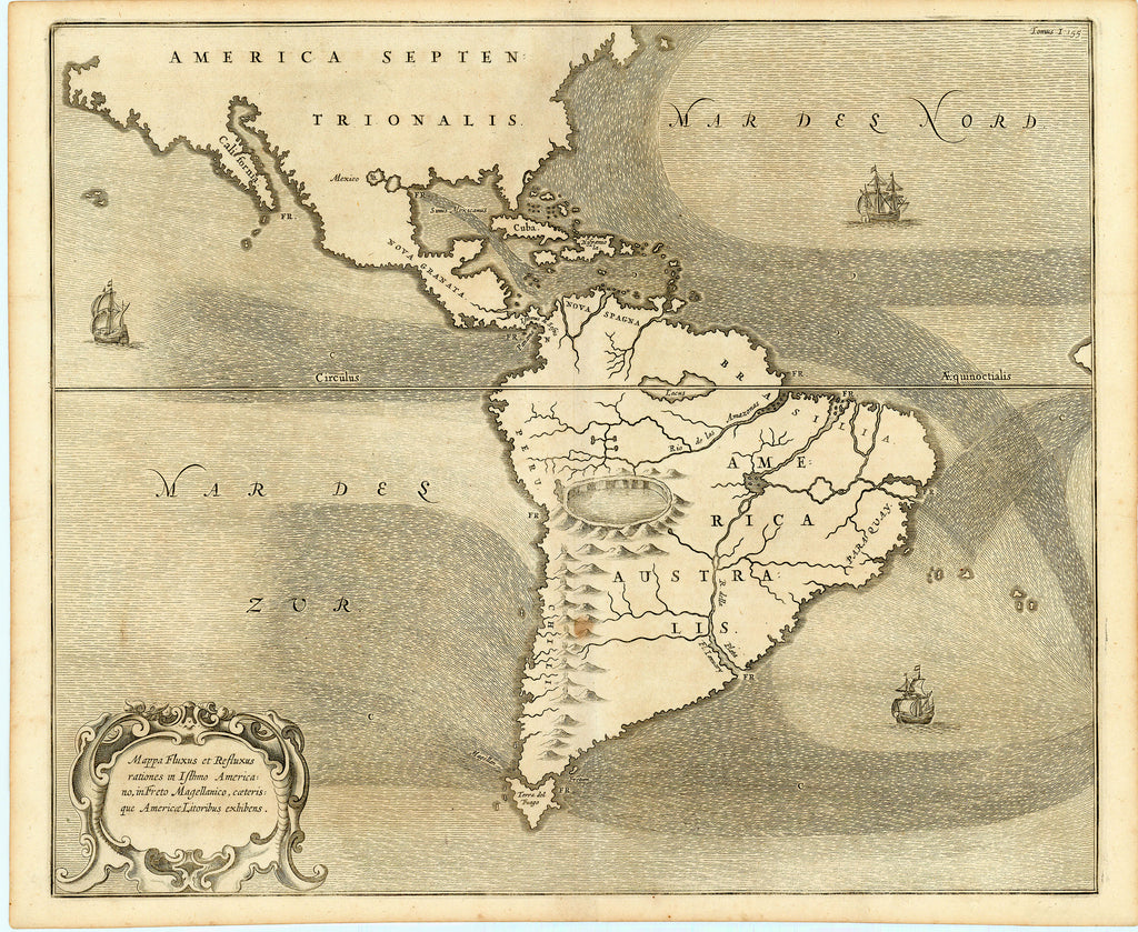 Old map of North and South America