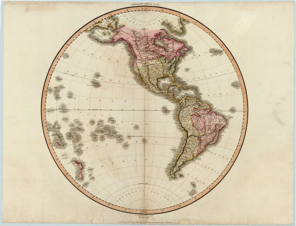 Old map of the western hemisphere