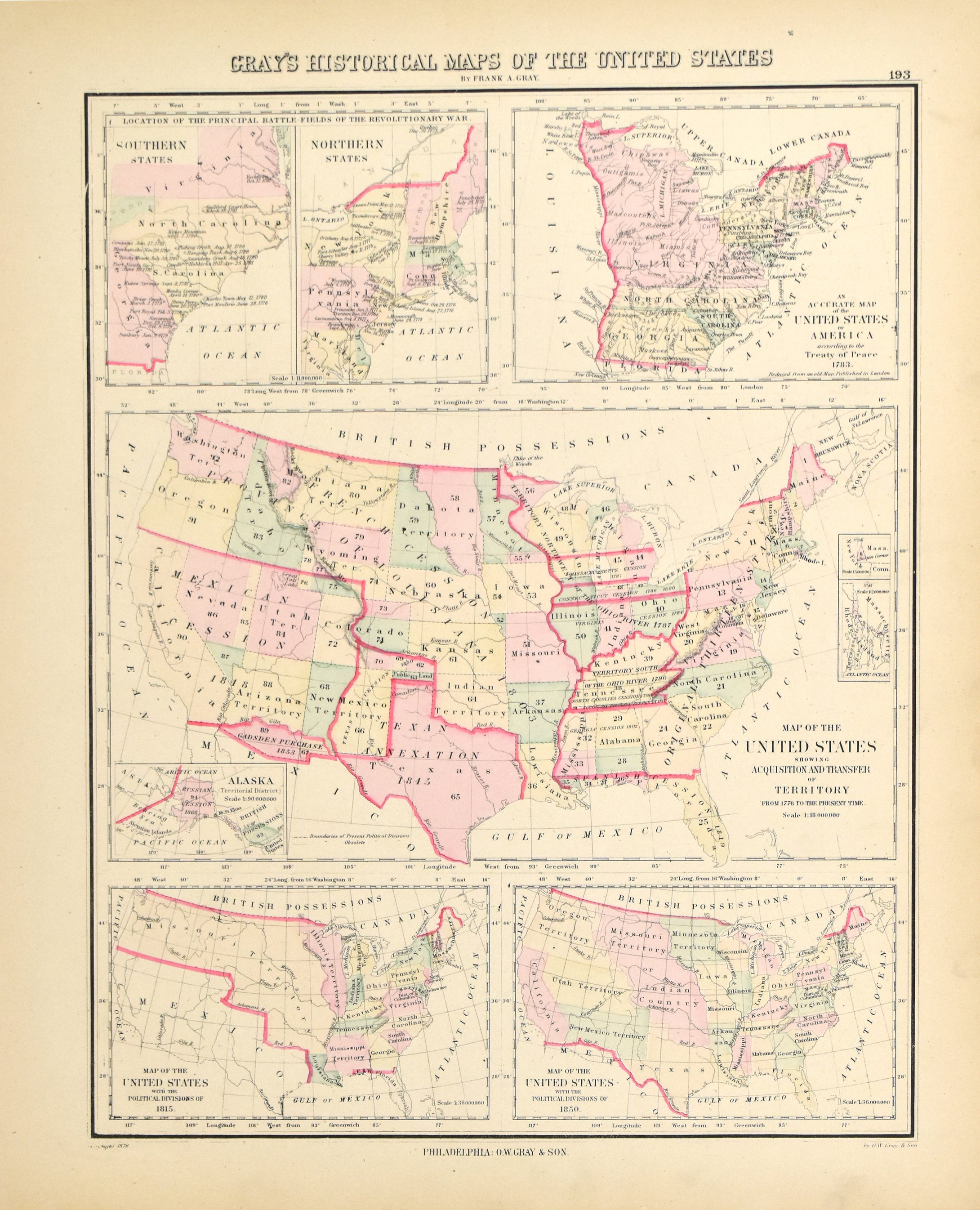 Gray's Historical Maps of the United States: O.W. Gray 1883