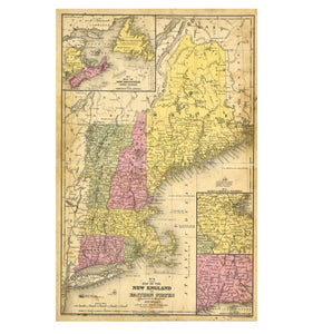 Map of the New England or Eastern States: Augustus Mitchell 1844