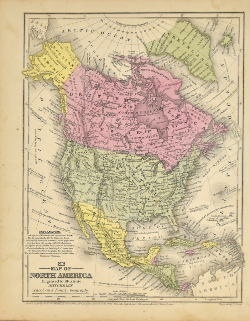 Map of North America: Augustus Mitchell 1852