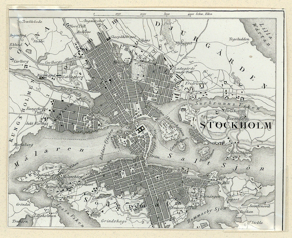 Old map of Stockholm, Sweden