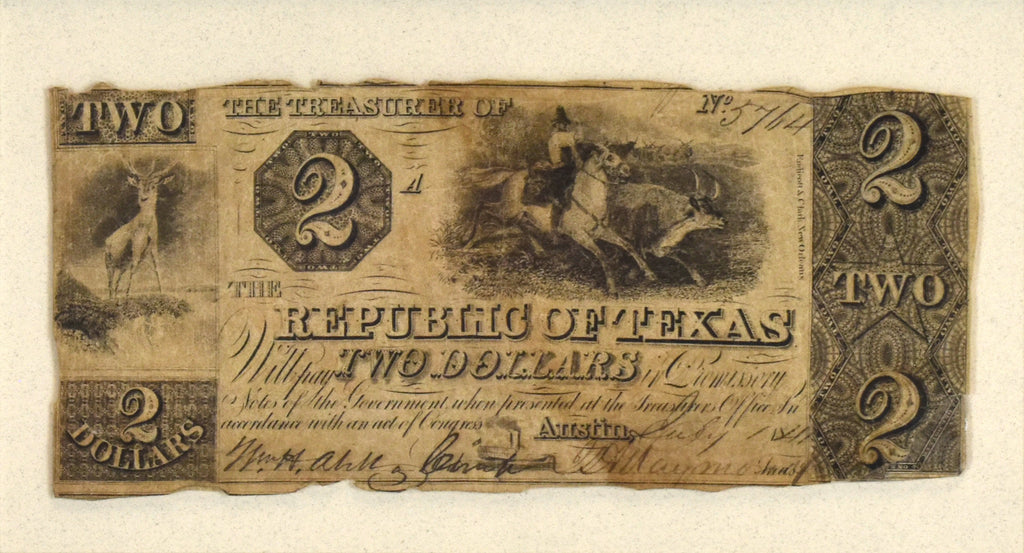 Two Dollar Change Note From Red Back Series: Republic of Texas 1841