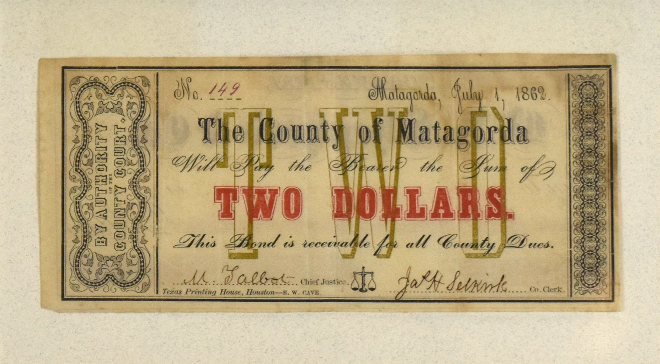 Two Dollar Note: County of Matagorda 1862