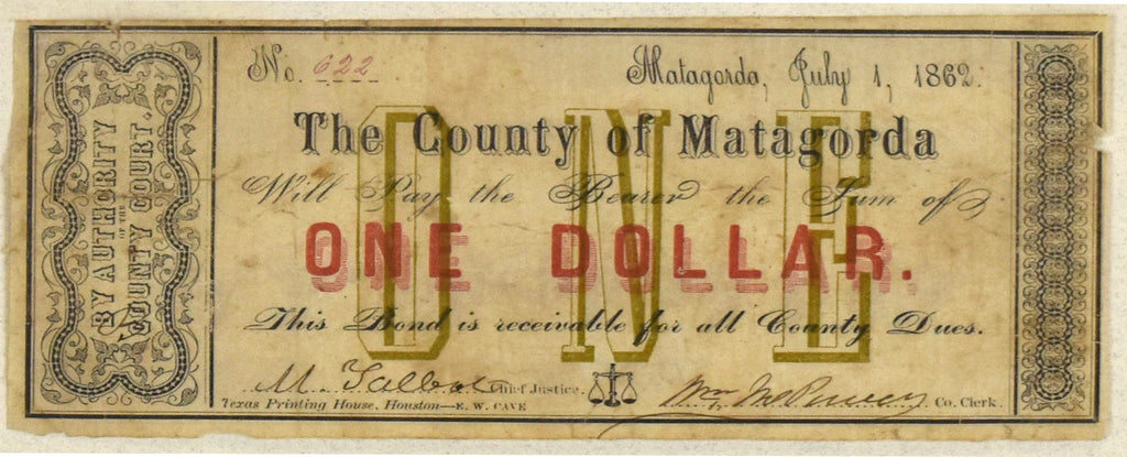 One Dollar: County of Matagorda 1862