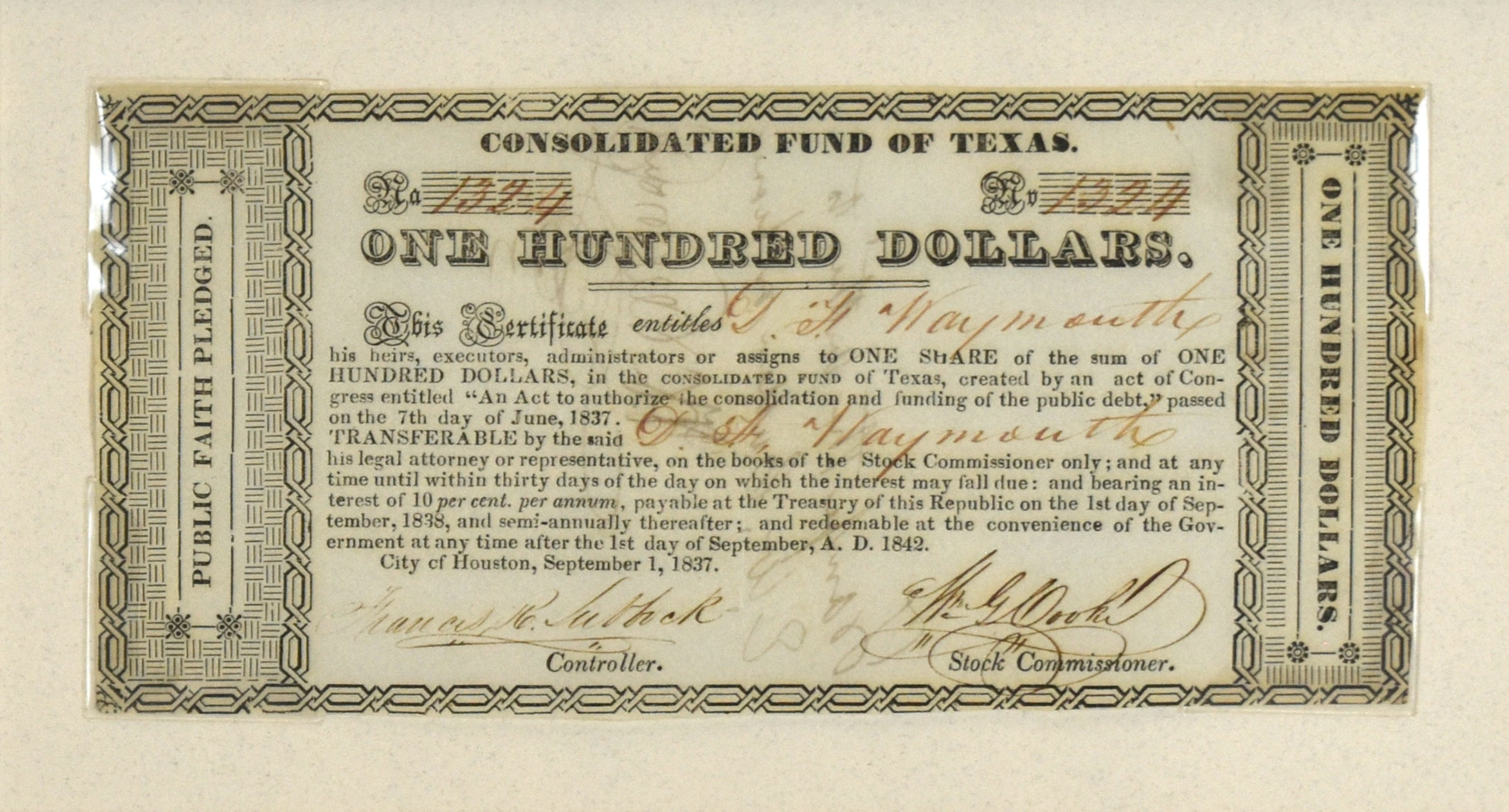 One Hundred Dollars: Consolidated Fund of Texas 1837