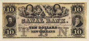 Ten Dollar Banknote: Canal Bank New Orleans c. 1850