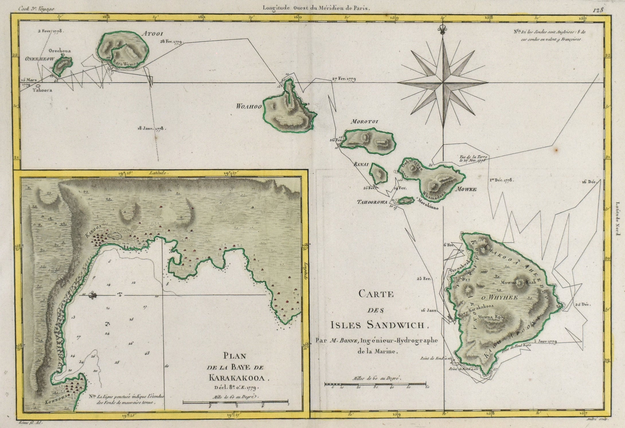 Sandwich Islands (Hawaii): Rigobert Bonne c. 1787