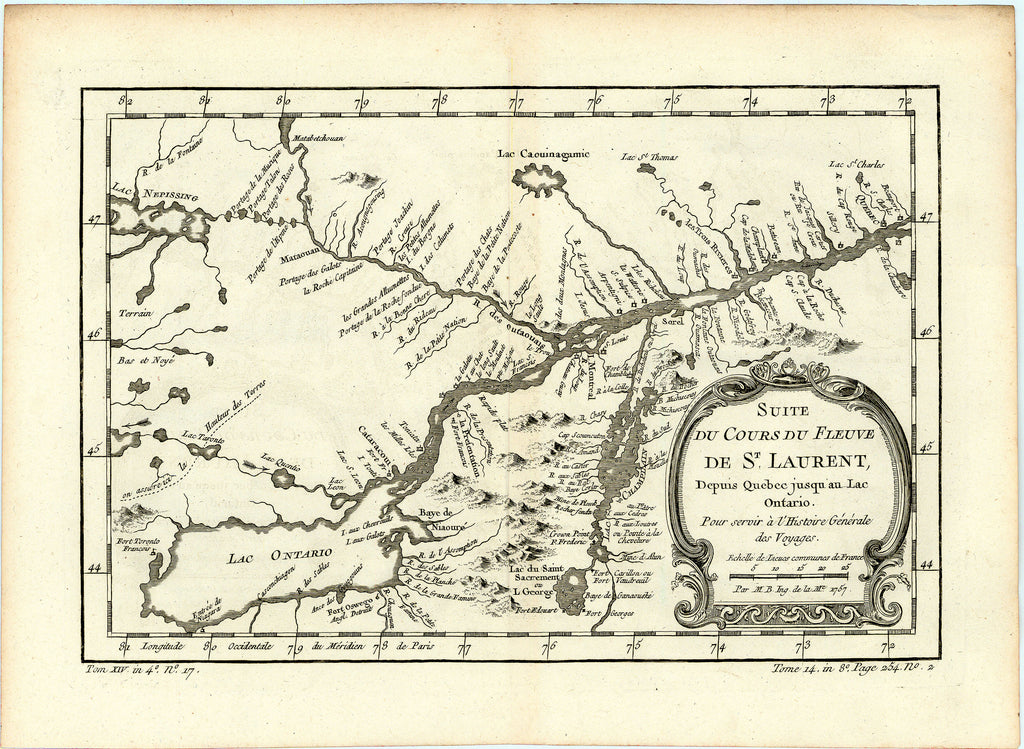 Old map of the St. Lawrence River