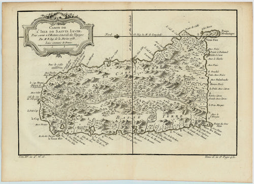 Old map of the island of St. Lucia