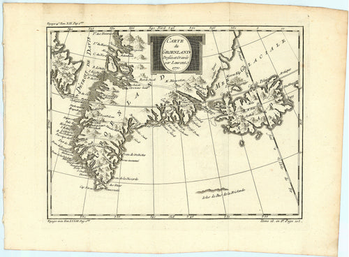 Old map of Iceland and Greenland