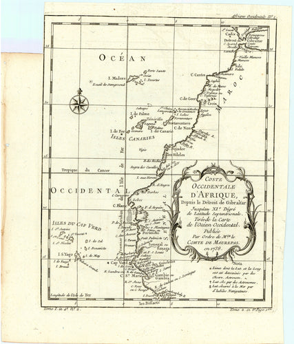 Old map of the northwest coast of Africa